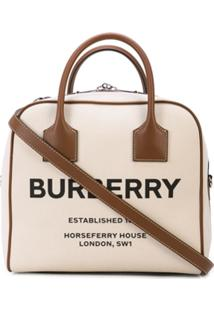 Burberry Clutch Média Estampada De Canvas - Neutro