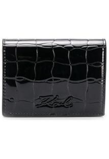 Karl Lagerfeld Carteira K/Signature Mini Com Efeito Pele De Crocodilo - Preto