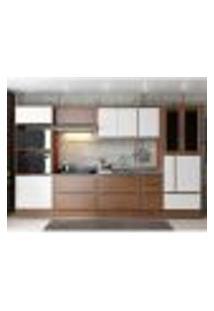 Cozinha Completa Multimóveis Com 10 Peças Calábria 5450R Nogueira/Branco