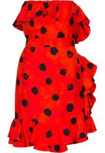 Moschino Vestido Midi Com Poás E Babados - Vermelho
