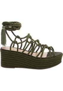 Sandália Flatform Braid Militar Green | Schutz