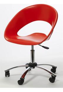 Cadeira One Giratoria Cromada C/Braco Cor Vermelho - 22662