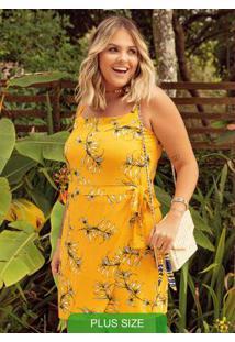 Vestido Com Estampa De Folhagem Amarelo