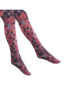 Meia-Calça Estampada 3D Clover Red Jiggy (Cvr) Fio 50