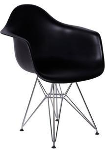 Poltrona Eames Dkr Com Braã§Os- Preta & Prateada- 82Xor Design