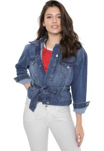 Jaqueta Jeans Cropped Colcci Amarração Azul
