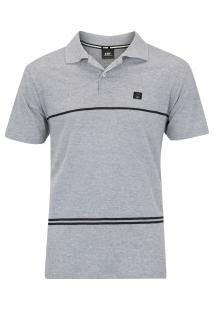 Camisa Polo Hd Simple Stripe - Masculina - Cinza