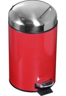 Lixeira Inox 3 Litros Vermelha
