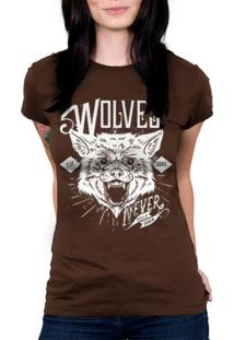 Camiseta Baby Look Hshop Wolves Marrom