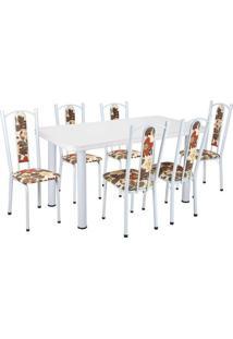 Conjunto De Mesa Com 6 Cadeiras Helena Branco E Bege Vermelho - Única