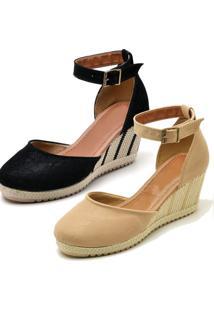 Kit 2 Sandálias Ousy Shoes Anabela Espadrille Preto - Kanui