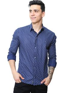Camisa Slim Victor Deniro Azul Ancorini