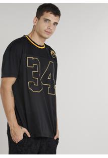 "Camiseta Masculina Ampla Kings Sneakers ""34"" Manga Curta Gola Careca Preta"