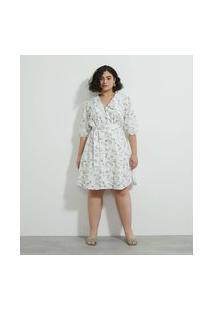 Vestido Em Tricoline Estampado Com Cinto Curve & Plus Size Branco