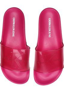Chinelo Slide Calvin Klein Logo Pink