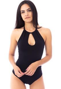 Body Moda Vicio Frente Unica Com Decote Preto - Preto - Feminino - Poliã©Ster - Dafiti