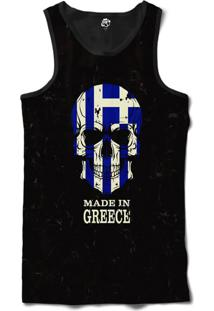 Regata Bsc Caveira País Grécia Sublimada Frente Preto