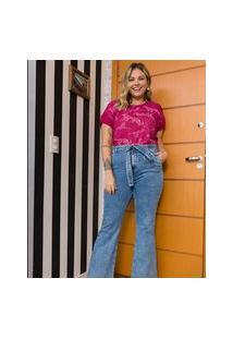 Calça Flare Lisa Com Pregas E Cinto Pespontado Curve & Plus Size | Ashua Curve E Plus Size | Azul | 50