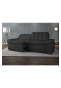 Sofá 4 Lugares Net Confort Assento Retrátil E Reclinável Cinza Escuro 2,20M (L)