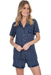 Pijama Curto Aberto Dreaming Feminino - Feminino-Azul