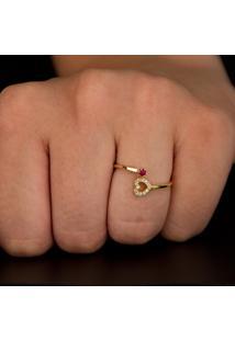 Pingente Em Ouro Vermelho Coração Bojudo - Pg19188