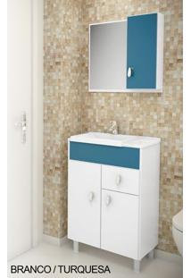 Gabinete Para Banheiro Kit Tuon - Balcão + Espelheira + Marmorite - Branco Com Turquesa