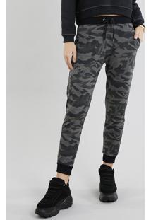Calça Feminina Jogger Em Moletom Estampada Camuflada Verde Militar