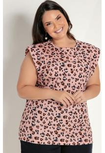 Blusa Onça Rosa Com Ombreiras Plus Size
