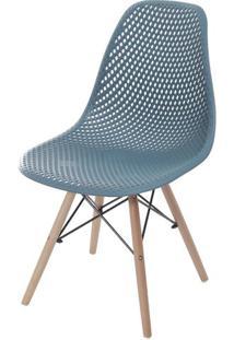 Cadeira Eames Furadinha Cor Azul Petroleo Com Base Madeira - 55987 Sun House