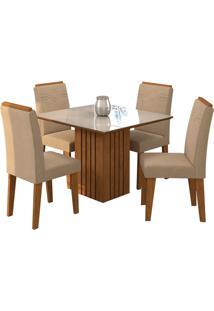 Conjunto De Mesa Com 4 Cadeiras Para Sala De Jantar 95X95 Ana/Tais-Cimol - Savana / Offwhite / Caramelo