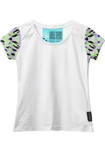 Camiseta Baby Look Feminina Algodão Estampa Moda Casual Leve - Feminino-Branco+Verde