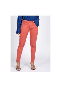 Calça Jeans Bloom Color Skinny Thiffany Terracota