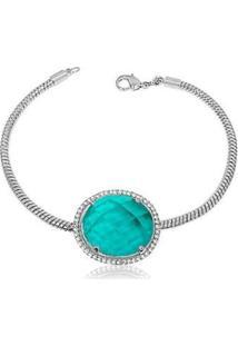 Pulseira Luxo Banhada Ródio Com Pedra Verde Tiffany Semijoia Lys Lazuli Feminina - Feminino