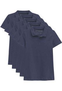 Kit De 5 Camisas Polo Femininas Azul