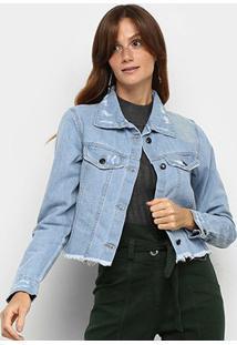Jaqueta Jeans Mucs Bordado Nas Costas Feminina - Feminino-Azul