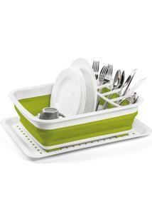 Escorredor De Louça Em Silicone Flexível Para 16 Pratos Verde E Branco