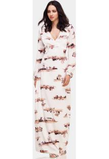 Vestido Longo Tecido Com Cinto Fox - Lez A Lez