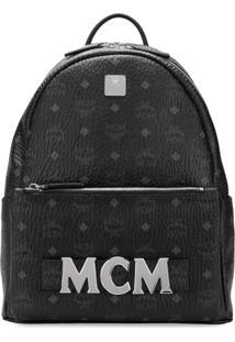 Mcm Mochila De Couro Monogramada - Preto