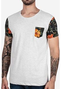 Camiseta Mescla Claro Manga Floral 102451
