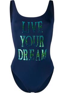 Alberta Ferretti Sequinned Slogan Open-Back Swimsuit - Azul