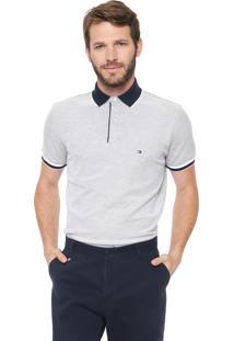 Camisa Polo Tommy Hilfiger Regular Oxford Cinza
