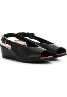 Sandália Usaflex Chanel Anabela - Feminino-Preto