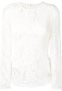 Dolce & Gabbana Blusa Translúcida Floral - Branco
