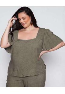Blusa Almaria Plus Size Pianeta Verde Verde