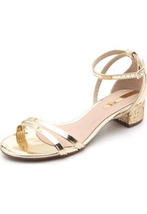 Sandália Moleca Metalizada Dourada