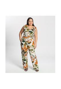 Macacáo Plus Size Estampado Feminino Secret Glam Bege