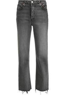Trave Denim Calça Jeans Reta Cintura Média - Cinza