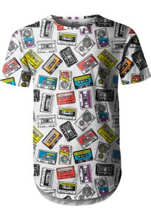 Camiseta Longline Over Fame Fita Cassete Branca