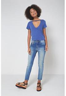 Calça Jeans Detalhe Bolso Jeans Ca Oh, Boy! Feminina - Feminino-Azul