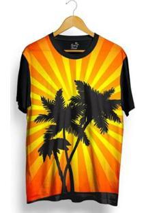 Camiseta Long Beach Coqueiro Sublimada Masculina - Masculino-Laranja+Preto